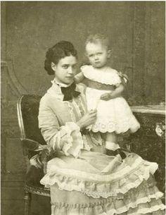 Empress Maria Feodorovna of Russia and her first born, Tsarevich Nikolai Alexandrovich Romanov of Russia in 1869.