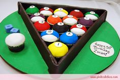 A fun and easy to make Birthday Cupcake Cake for the Billiards Enthusiast!