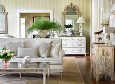 "Lillian August's North Carolina home is ""relaxed and romantic,"" with a soft palette and furniture with patina. - Traditional Home®  Photo: Emily Followill Design: Lillian August"