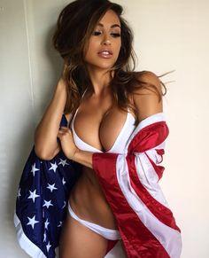 Hot girls in american flag bikini sucking tits gif