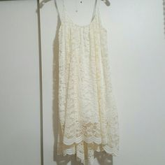 Beige crochet summer dress This very cute summer crochet dress is higher from the front & lower from the back. Never worn Dresses Strapless