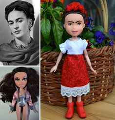 Artist Wendy Tsao remakes manufactured dolls into portrayals of inspirational real-life women. #art #dolls #frida