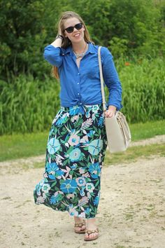 Puppies & Pretties: Floral maxi skirt, Lilly Pulitzer camp shirt, Loren Hope bow necklace, Dagne Dover tote