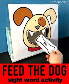 FREE sight word recognition activity for kids to read sight words while feeding bones to the dog. Fun and motivational literacy game for pre-k, kindergarten and first grade kids. Preschool Sight Words, Teaching Sight Words, Sight Word Games, Sight Word Activities, Preschool Printables, Kindergarten Activities, Preschool Activities, Toddler Preschool, Kindergarten Reading