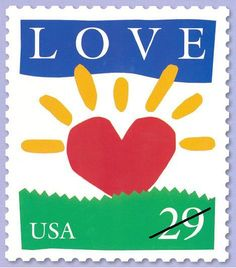 USPS Rising Sun Heart Love stamp 1994 Designed by Peter Goode Day of Issue @ Loveland, Ohio. My Funny Valentine, Valentines, Going Postal, Postage Stamp Art, Stamp Pad, Love Stamps, Small Art, Heart Art, Stamp Collecting