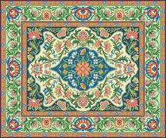 Oriental Vintage Floral Rug 2 Adaptation by MyTreasureIsland Counted Cross Stitch Patterns, Cross Stitch Designs, Large Tapestries, Tapestry, Oriental, Vintage Borders, Quilling Patterns, Vintage Floral, French Vintage