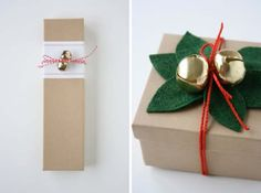 DIY Gift Wrapping Ideas - How To Wrap A Present - Tutorials, Cool Ideas and Instructions | Cute Gift Wrap Ideas for Christmas, Birthdays and Holidays | Tips for Bows and Creative Wrapping Papers |  Felt Mistletoe and Jingle Bells |  http://diyjoy.com/how-to-wrap-a-gift-wrapping-ideas