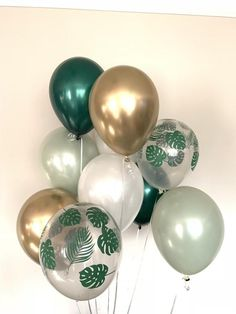 Sage Green Balloons Tropical Wedding Decor Green and Gold Balloon Decorations Party, Bridal Shower Decorations, Birthday Decorations, Wedding Decorations, Birthday Ideas, Green Bridal Showers, Tropical Bridal Showers, Tropical Wedding Decor, Tropical Party