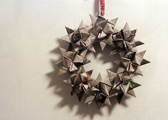 Dollar Store Crafts » Blog Archive » Recycled Newspaper German Star Wreath