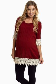Burgundy Crochet Trim Linen Maternity Tunic