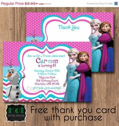 25 best invite collection images on pinterest princesses disney personalized to match your party optional back design add on digital download fast delivery colors matched up with the frozen party supplies at stopboris Gallery