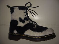 Dr. Martens black and white cow pattern plush fabric boots. Unisex size 5 UK, 38 EU, US women's 7, US men's 6. Made in England. 8 eyelets 1460 Pascal boots. Good condition with balding spots on the inner sides of the boots.   eBay!