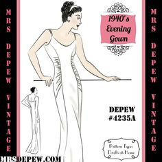 Vintage Sewing Pattern Slim Evening or Wedding Gown with Gathers in Any Size Depew - PL Wedding Evening Gown, Evening Gowns, Wedding Gowns, Vintage Sewing Patterns, Clothing Patterns, Vogue Wedding Dress Patterns, Evening Gown Pattern, French Pattern, Summer Wedding Guests