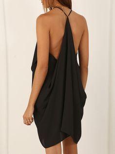 Black Spaghetti Strap Backless Asymmetric Dress
