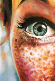 "One of those paintings you just keep looking at.  ""Close up green eye freckles 145/100cm oil on canvas"" by artist Thomas Saliot. FABULOUS!  ~~  Houston Foodlovers Book Club"