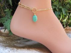 Lime Green Variscite Gold Filled Anklet Ankle Bracelet Looks Great with a Toe Ring and Chain Adjustable