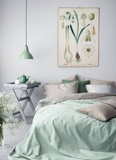 Decorating with Mint: bring the outdoors in with bold botanical print and mint green walls. Flecks of gold accessories like this pendant light are great for adding warmth in the Winter months whilst still keeping your cool factor.
