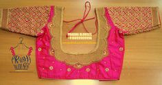 Beautiful pink color designer blouse with hand embroidery kunadan and bal work. Traditional Blouse Designs, South Indian Blouse Designs, Best Blouse Designs, Blouse Back Neck Designs, Hand Embroidery, Embroidery Designs, Wedding Saree Blouse Designs, Wedding Sarees, Blouse Desings