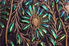 A Victorian Couched Gold Thread And Beetle Wing Tunic. An elaborate tunic made from fine tulle, c Green Wing, Gold Work, Abstract Pattern, Dungeons And Dragons, Beetle, Hand Embroidery, Wings, Victorian, Textiles