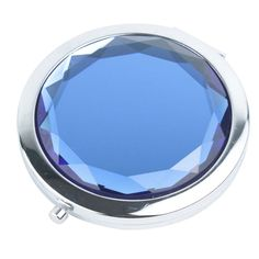 Travel Compact Pocket Crystal Folding Makeup Mirror , Royal blue