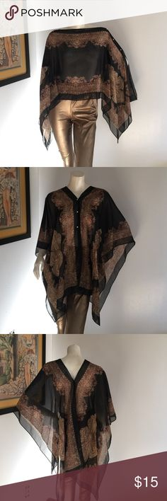 Sheer Black Boho Onesize Poncho Paisley Print Light,delicate and beautiful Sheer Poncho Style Coverall🌸 One Size🍡New 💅🏽without tags🍾 WEAR IT TWO WAYS‼️ leggings not for sale 🙈 100% Polyester 🍬 Tops