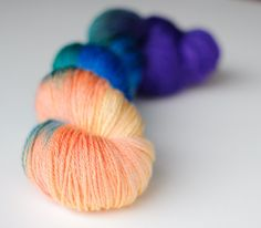 Sunset on Atlantis: golden peaches, Atlantic blue, tropical green, and deep violet. To order: http://threeirishgirls.com/collections/colorways/products/atlantis