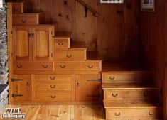 Drawers in the stairs-- love it