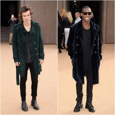 Harry Styles and Tinie Tempah in gorgeous coloured outerwear from Burberry. Read more here: http://www.whats-he-wearing.com/2014/02/Jamie-Campbell-Bower-Harry-Styles-Tinie-Tempah-Burberry-Fall-Winter-2014.html
