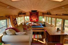 Short bus conversion is relatively easier to do since the vehicle has more space. Here, we collected 15 short bus conversion interior ideas for cozy living. Bus Living, Cozy Living, School Bus Conversion, Camper Conversion, School Bus House, Converted School Bus, Bus Interior, Interior Ideas, Interior Lighting