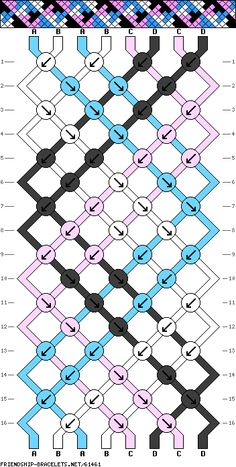 8 string, 16 row, 4 color, bracelet