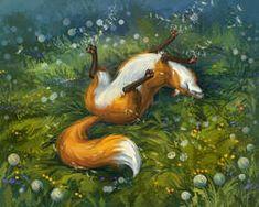 Fox And Dandelions by LouieLorry on DeviantArt Fox Illustration, Illustrations, Fox Pictures, Fox Spirit, Fox Art, Cute Fox, Noragami, Whimsical Art, Fantasy Creatures