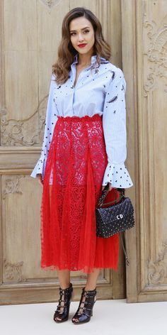 """Look of the Day - Jessica Alba from InStyle.com Jessica Alba found the sexiest way to style a classic button-down shirt for the Valentino spring 2017 show during Paris Fashion Week. Clad in head-to-toe Valentino, she buttoned up an embroidered shirt (that was long enough to double as a dress) and completed her """"no-pants"""" look with a scarlet red sheer lace skirt overlay. Then, she finished her look with a dose of edge, courtesy of smoky quartz Graziela Gems earrings and black studded…"""