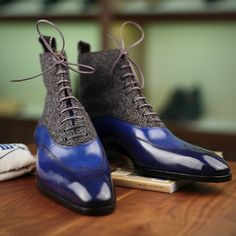Saint Crispin's model 605, blue austerity brogue Balmoral boot, with a tweed upper around the ankle | Essentials (men's accessories), visit http://www.pinterest.com/davidos193/