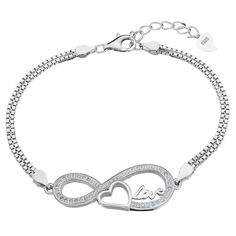 EleQueen 925 Sterling Silver CZ Double Strand Infinity Figure 8 'Love' Heart Bridal Bracelet Rhodium Plated >>> You can get additional details at the image link.