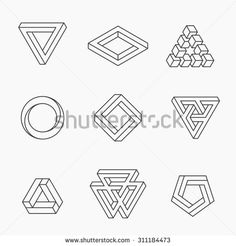 impossible #triangle #shapes #illusion #vector #geometric #shape #optical…