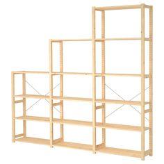 Libreria in legno massiccio grezzo adattabile per varie altezze. Serie IVAR 3 sezioni/ripiani - IKEA