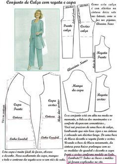 Costura e Modelagem Baby Girl Dress Patterns, Baby Clothes Patterns, Coat Patterns, Dress Sewing Patterns, Clothing Patterns, Fashion Sewing, Diy Fashion, Sewing Blouses, Sewing Alterations