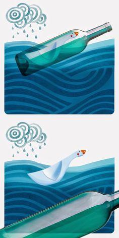 szuflada z rysunkami: Gęś w butelce... Illustration, Illustrations