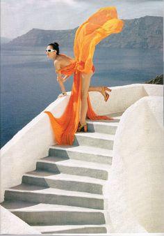 Santorini ~ UK Vogue summer fashion editorial @}-,-;--