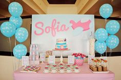 GIRLY AIRLINE + AIRPLANE BIRTHDAY PARTY via Kara's Party Ideas @Emily Schoenfeld Davidson