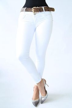 Ref: 001 JEAN COLOR BLANCO Colored Jeans, Push Up, Denim Jeans, White Jeans, Collection, Fashion, Black Leather, White Colors, Texans
