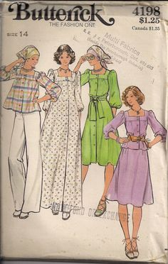 Crop Top or Blouse Scarf Pull On Wide Leg Pants Sewing Pattern; Butterick 5822; Size 10 Bust 32.5 Short Sleeve Belt Vintage