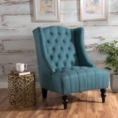 The Clarice Accent Chair is a perfect addition for any room in your home. With its tufted accent and curved wingback feature, this elegant chair will enhance the look of any room it is placed in. Coastal Living Rooms, My Living Room, Living Room Chairs, Living Room Furniture, Dining Chairs, Accent Furniture, Teal Furniture, Farmhouse Furniture, Arm Chairs