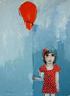 """Grounded baloon"" 2012, acrylic on canvas. Artist Vane Kosturanov."