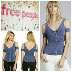 Free People Cutout Shoulder Top Free People Cutout Shoulder Top in medium blue denim wash. This super soft, ultra feminine top is the perfect go-to for any wardrobe! As seen on Sasha from the Bold and the Beautiful!   No trade, discount with bundle! Considering all reasonable offers made via the blue offer button only! Free People Tops