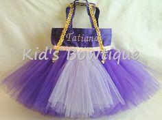 Monogrammed Tutu Bag - Personalized Princess Rapunzel Inspired Tutu Tote Bag - Halloween Trick or Treat Bag