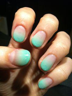 mint ombre nails #nail #art