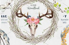 20%OFF - Big Watercolor Woodland Set by Watercolor Nomads on @creativemarket