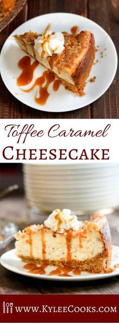 It's creamy. It's dreamy. This easy to make, decadent Toffee Caramel Cheesecake has melted toffee in the filling, crunchy toffee on the top, whipped cream & caramel sauce.  GRAB A FORK!!!! via /kyleecooks/