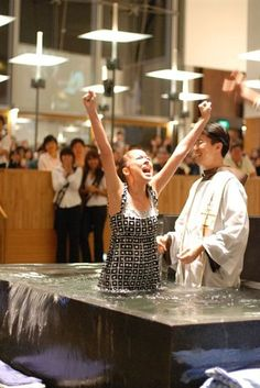 Image result for woman catholic baptismal font joy water